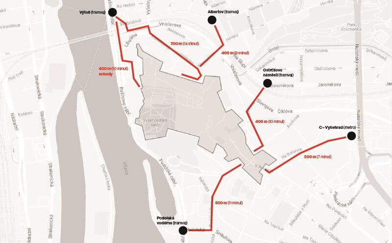 布拉格高堡區交通路線圖
